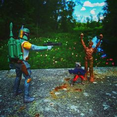 Mexican Standoff at the Great Swamp.  #bobafett #groot #rocketraccoon #hasbro #starwars #guardiansofthegalaxy #greatswamp #nature #funny #mexicanstandoff #like4like #like4likes #likeforlike #likealways #love #instagram #picoftheday