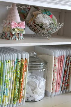 Fabric Storage (these are Corrugated Plastic but you can use regular cardboard, too!)