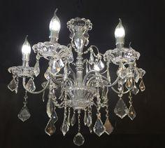 lustre de cristal 6 braços cromados (promoção).