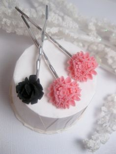 Black Widow And Pink Flower Bobby Pins  by FashionCrashJewelry