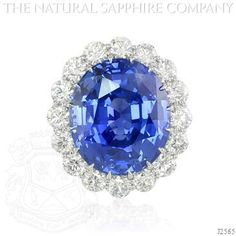 Blue Sapphire Ring - J2565 - This is the largest gem quality natural untreated blue sapphire available for sale weighing in at 69.35cts and is flawlessly set in a custom hand crafted platinum mounting with 16 E color VS quality diamonds weighing a total of 8.00cts surrounding it.