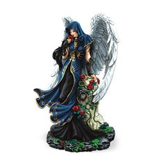 Blood Rose Fantasy Angel Figurine by The Hamilton Collection Gothic Angel, Garden Figurines, Angel Statues, Angels And Demons, Elegant Woman, Red Roses, Fantasy Art, Sculptures, Lady