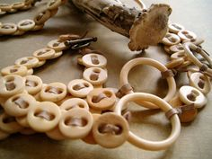 RELIC Necklace of Antique Bone Buttons, Bone Rings and Suede