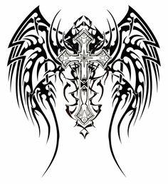 Are you assuming about getting tribal wings tattoos inked on your skin? Read on to get ideas about the best kind of tribal wings tattoo designs. We are seeing that tribal wing tattoo has become quite popular amongst people who love tribal tattoo art. Tribal Cross Tattoos, Tribal Wings, Celtic Cross Tattoos, Tribal Tattoos For Men, Tattoos For Guys, Celtic Crosses, Cross With Wings Tattoo, Cross Tattoo For Men, Cross Tattoo Designs