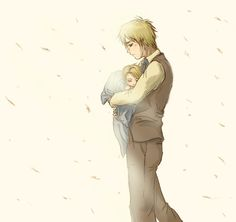 -Hetalia fanart- Iggy+Ame by xueling.deviantart.com on @deviantART - Arthur with baby Alfred - so cute!