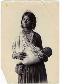 Vintage Indian mother and child.