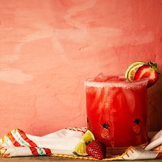 strawberry margarita: 2 oz. strawberry puree, 2 oz. tequila, 1 oz. Cointreau, 2 tbsp. lime juice, salt & lime slices for garnish
