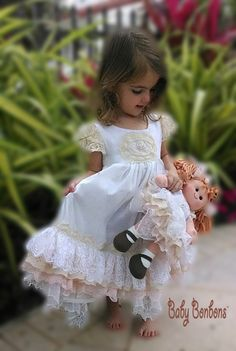 Easter Flower girl Vintage lace embellished Gown  by Babybonbons, $124.00 would be a beautiful flower girl dress