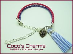 Braided Leather Bracelet Fuchsia and Purple - Cocos Charms