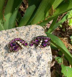 Hollycraft 1953 Amethyst Clip On Earrings  by whoodooart on Etsy https://www.etsy.com/listing/231802329/hollycraft-1953-amethyst-clip-on