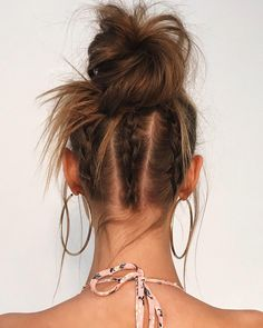 Triple Braids Into Bun ❤ There are so many ways to wear messy hair! Buns for short bob, braid updo styles for medium hair, waves and ponytails for long hair, and lots of messy inspo are here! Big Box Braids Hairstyles, Braids For Short Hair, Braided Hairstyles, Hairstyles Haircuts, Braided Updo, Medium Hair Styles, Short Hair Styles, Messy Hair Look, Messy Bun
