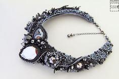 """Купить Колье """"Угольный Дракон"""" - черный, колье из бисера и камней, черное колье, необычное колье"""