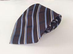 Croft & Barrow Neck Tie Brown Blue White Striped 100% Silk #CroftBarrow #NeckTie