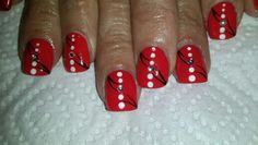 Red painted nail art with dots and black stripes - by Lydia Serfontein