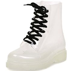 Mykubi Soles Lace up Waterproof All Transparent Jelly Rain Boot 85 -- This is an Amazon Affiliate link. Find out more about the great product at the image link.