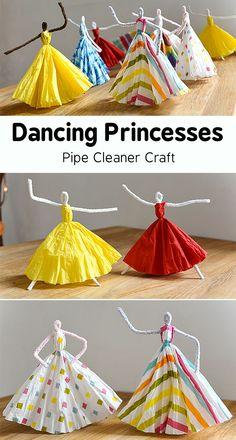 Dancing Princesses Pipe Cleaner Craft Easy Crafts For Kids, Summer Crafts, Creative Crafts, Diy For Kids, Diy And Crafts, Craft Kids, Wood Crafts, Decor Crafts, Diy Wood