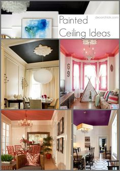 Painted Ceiling Ideas www decorchick com Ceiling Decor, Ceiling Design, Ceiling Ideas, Ceiling Detail, Bedroom Ceiling, Decorating Your Home, Interior Decorating, Interior Design, Interior Ideas