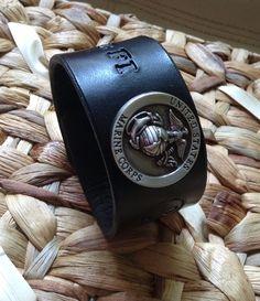 Leather Marine Emblem Cuff - Men's - Initials - Semper Fi  on Etsy, $22.00