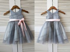 Grey Lace Tulle Flower Girl Dress Junior Bridesmaid Dress with Pink Sash on Etsy, $52.18 CAD