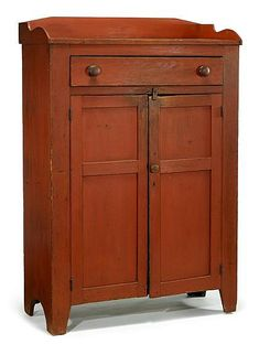 Red painted jelly cupboard, pennsylvania, early 19th century, The rectangular top with gallery above long drawer with turned knob