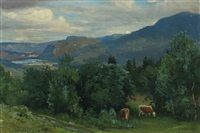 Norwegian landscape with grassing cattle by Christian Eriksen Skredsvig
