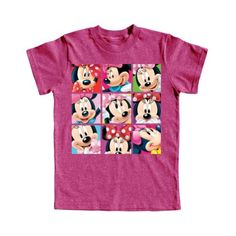 Girls T Shirt Many Minnie Mouse Boxed In  Pink Heather  Small * ** AMAZON BEST BUY **