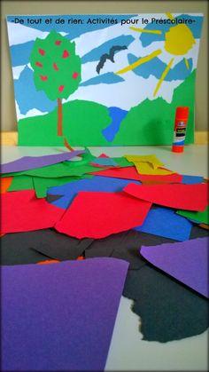 De tout et de rien: Activités pour le Préscolaire: Torn paper collage craft - Collage de papier déchiré