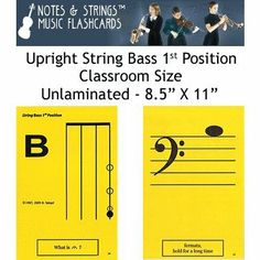 """Notes & Strings Upright String Bass 1st Position 8.5""""X11"""" Classroom Size Flashcards by Notes & Strings. $21.98. The mission of Notes & Strings is excellence in providing quality music education products to music students around the world. Notes & Strings Music Flashcards are very popular with music teachers, music students, and music stores. These flashcards help make the learning of music easy and fun. Deborah Spiegel, a Suzuki violin teacher, designed these no..."""