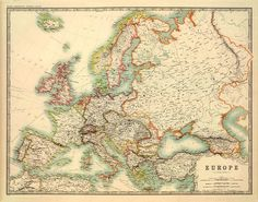 Map of Europe – Antique Europe map – A vintage map of Europe archival reproduction on paper or canvas – Maps from everywhere Leeds Map, Africa Map, Old Maps, Reproduction, Historical Images, Vintage Maps, Modern History, Pigment Ink, Adventure Is Out There