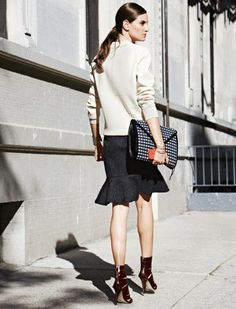 The Kick Flare GIVE YOUR PENCIL SKIRT A REST AND WEAR THIS EQUALLY TAILORED STYle Keep the polished look going with unfussy top  like this boxy ivory crewneck.