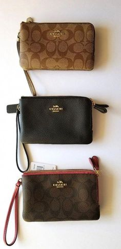 6937ee1511e9 New Coach Double Center Zippered Wallet Wristlet Black Brown