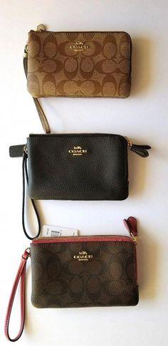 6937ee1511e9 New Coach Double Center Zippered Wallet Wristlet Black Brown