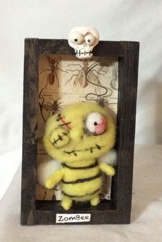 ZomBEE shadow box needle felted art doll by papermoongallery on Etsy