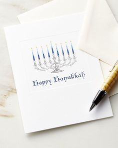 Caspari Happy Hanukkah Embossed Cards with Envelopes, Set of 10