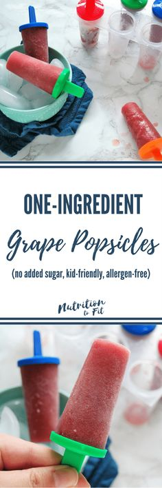 One-Ingredient Grape Popsicles! The perfect kid-friendly summer treat that is fun, healthy, delicious, and nutritious! Made by a Registered Dietitian for the whole family to enjoy! - Nutrition to Fit - Ich Folge Best Gluten Free Recipes, Allergy Free Recipes, Healthy Recipes, Snack Recipes, Dessert Recipes, Most Common Food Allergies, Eat Seasonal, Registered Dietitian, Healthy Eating For Kids