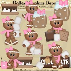Gingers and S'mores Graphic Collection - *DGD Exclusive* - Created by Kristi W. Designs - Great for printable crafts, scrapbooking, web graphics, embroidery patterns, cutting files, and more! www.DollarGraphicsDepot.com