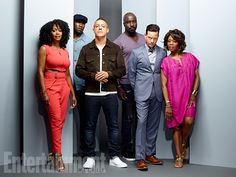 Simone Missick, Mahershala Ali, Mike Colter, Theo Rossi, Frank Whaley, and Alfre Woodard, 'Marvel's Luke Cage' Image Credit: MATTHIAS CLAMER for EW
