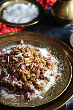 Indian Festival Recipe-Gujarati Rajwadi Kansar-Lapsi. Festival Recipe, Food Festival, Indian Desserts, Indian Festivals, Acai Bowl, Oatmeal, Sweets, Breakfast, Recipes