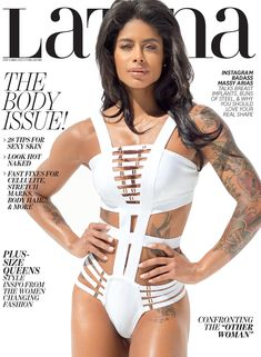 Massy Arias (Dominican (fitness/personal trainer (brunette (ink (for Latina/cover (bikini/one-piece/white (standing/front (studio Fit Girl Motivation, Fitness Motivation, Workout Fitness, Latina Magazine, Fitness Icon, Elle Fitness, Body Issues, Body Image, Fitness Inspiration