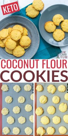 These keto coconut flour cookies are easy low carb cookies to make for keto snacks. These keto coconut flour cookies are easy low carb cookies to make for keto snacks. Healthy Low Carb Recipes, Low Carb Dinner Recipes, Low Carb Desserts, Dessert Recipes, Good Low Carb Snacks, Coconut Flour Recipes Low Carb, Healthy Weight, Coconut Flour Cookies, No Flour Cookies