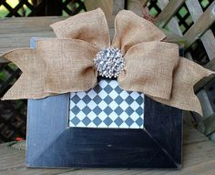 Black handpainted frame with burlap bow