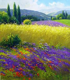 Wheatfields & Mountains of Tuscany by Gerhard Nesvadba