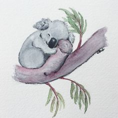 Koala Watercolor original. Koala nursery art. Bear nursery. $35