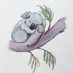 Koala Watercolor original. Koala nursery art. Bear nursery. $35