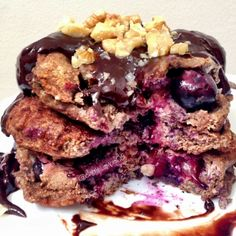 Ripped Recipes - Blueberry Chocolate Pancakes - Breakfast or dessert any time of the day ;)