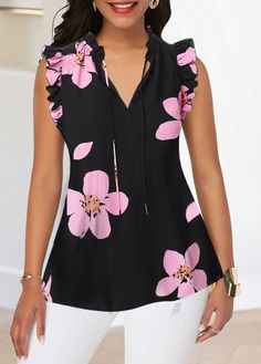 Ruffle Trim V Neck Flower Print Tank Blouse Women Clothes For Cheap, Collections, Styles Perfectly Fit You, Never Miss It! Stylish Tops For Girls, Trendy Tops For Women, Blouses For Women, Women's Blouses, Fashion Blouses, Blouse Styles, Blouse Designs, Trendy Fashion, Fashion Outfits