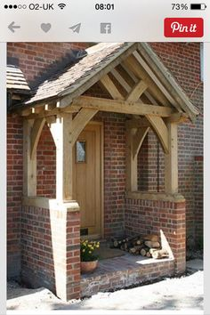 "Not my usual style, but so beautifully done. ""Oak framed with brick plinths"""