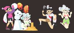 Every single Splatfest piece I made. Shame this tradition has come to an end. It was a blast, thank you so much. Callie And Marie, Splatoon Comics, Stars At Night, Art Memes, Gremlins, New Leaf, Best Games, Animal Crossing, Game Art
