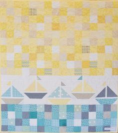 Quilt - Nautical Baby Boy Sailboat Quilt in Yellow Gray - CharleyDeeandMe