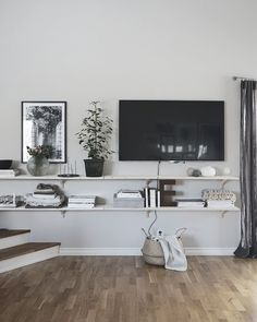 Simple TV wall styling: floating shelves and wall mounted tv. Are you looking fo., Simple TV wall styling: floating shelves and wall mounted tv. Are you looking for unique and beautiful art photos or posters to create your own galler. Mounted Tv Decor, Wall Mounted Tv, Mounted Shelves, Simple Tv, Interior Inspiration, Floating Shelves, Decoration, New Homes, Home